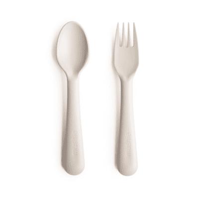 Mushie žlica&vilica – Ivory