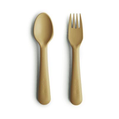 Mushie žlica&vilica – Mustard