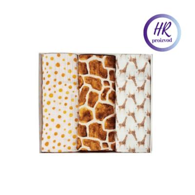 Tetra pelene 3/1 100% organski pamuk – Giraffes and spots