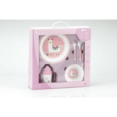 Set za jelo 5 kom pink ljama