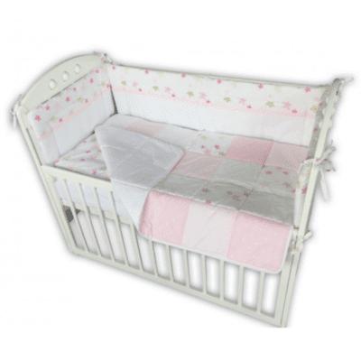 Komplet posteljina s ogradicom zvjezdice roza