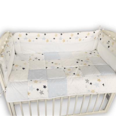 Komplet posteljina s ogradicom zvjezdice plava